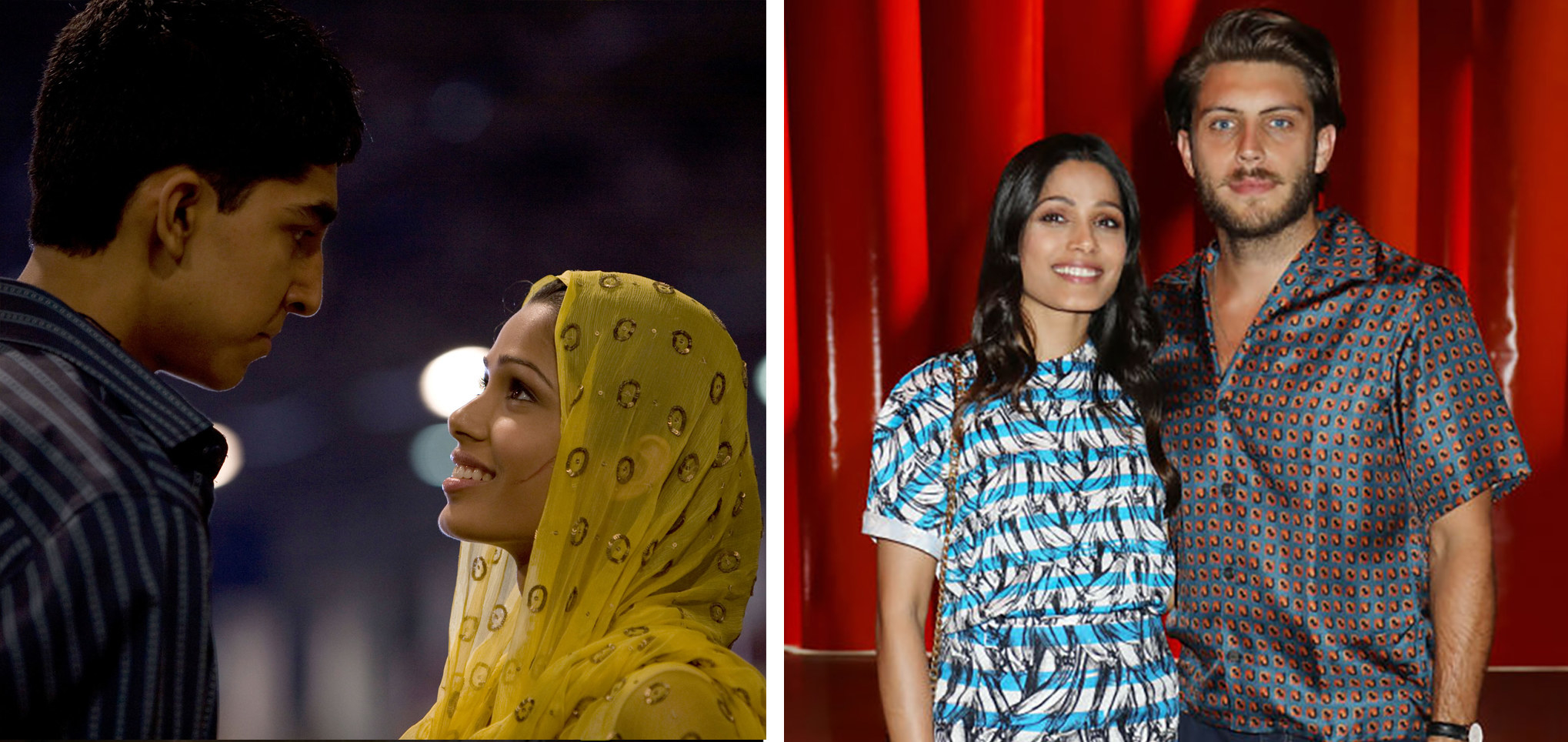 Freida looking at her co-star Dev Patel on the left. On the right, she is standing with her fiancé.