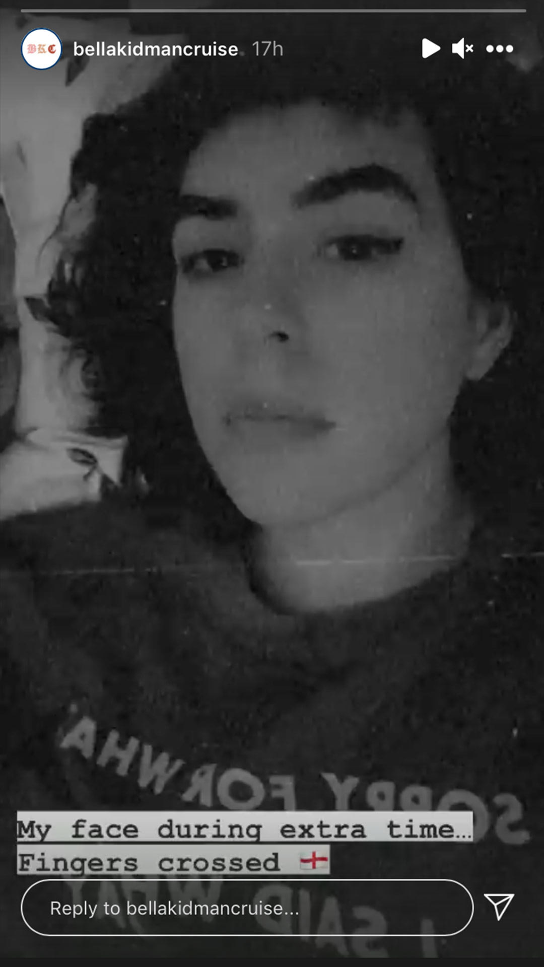 A black and white selfie of Bella with wavy dark hair