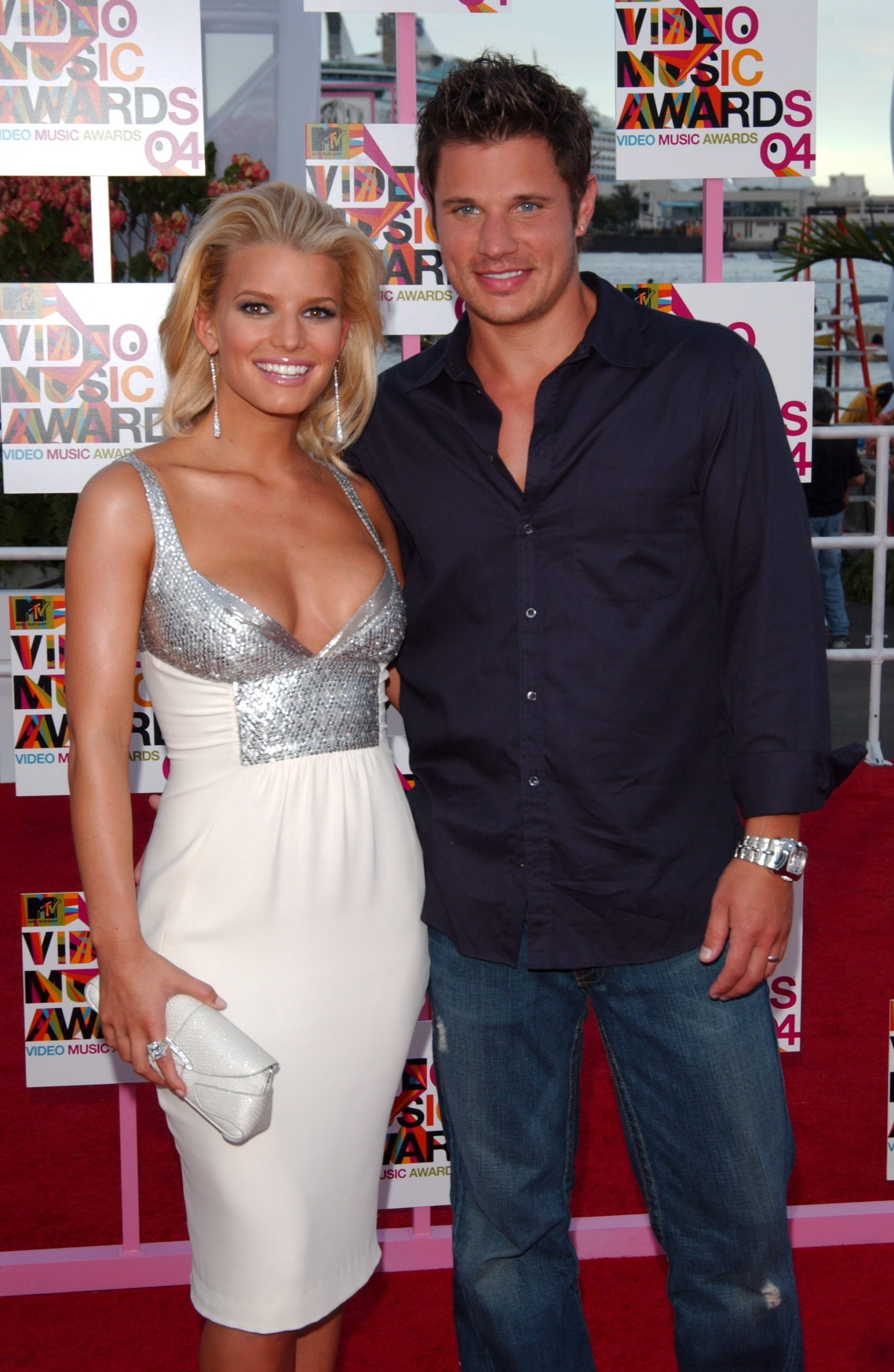 Jessica Simpson andNick Lachey at the MTV Music Video Awards