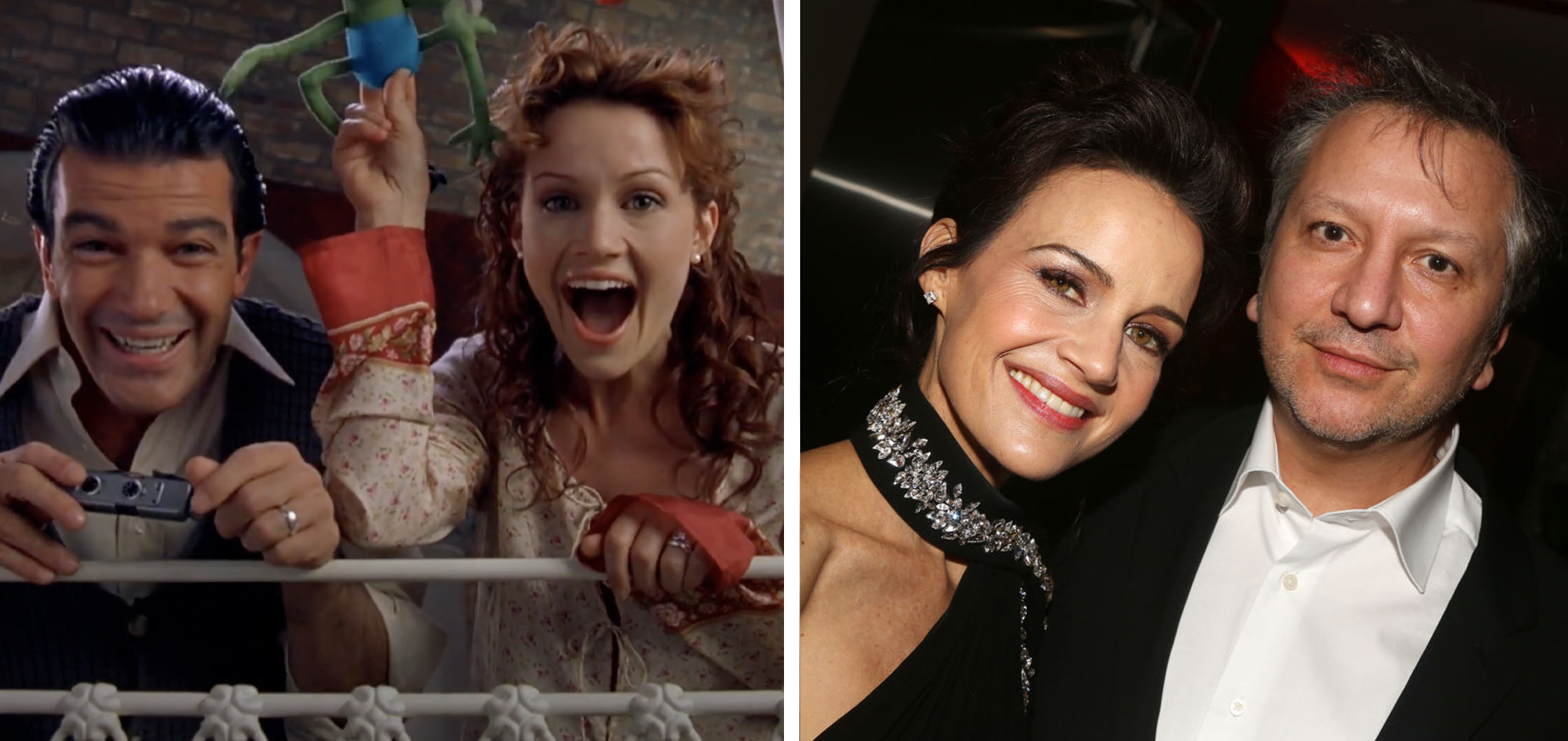 On the left, Carla is in character playing with her baby. On the right, she is with her partner at a gala.