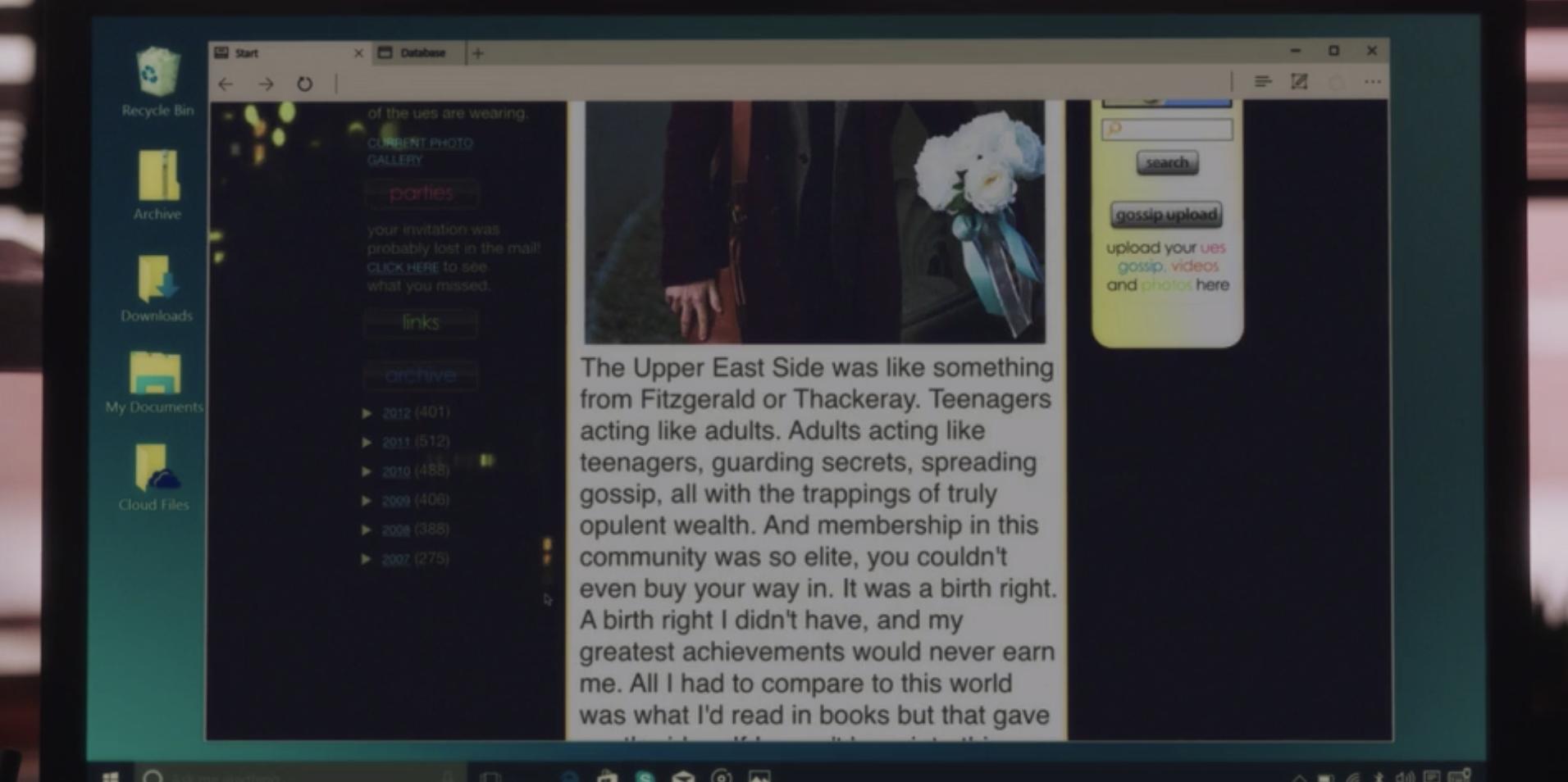 A screenshot of the Gossip Girl blog