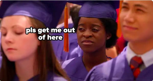 """Meme of Chantay at graduation saying, """"Pls get me out of here"""""""
