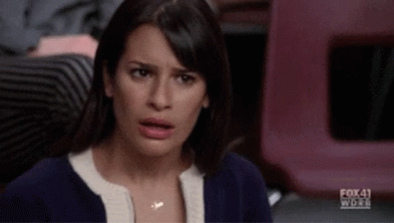 Rachel Berry in Glee looking confused and disgusted