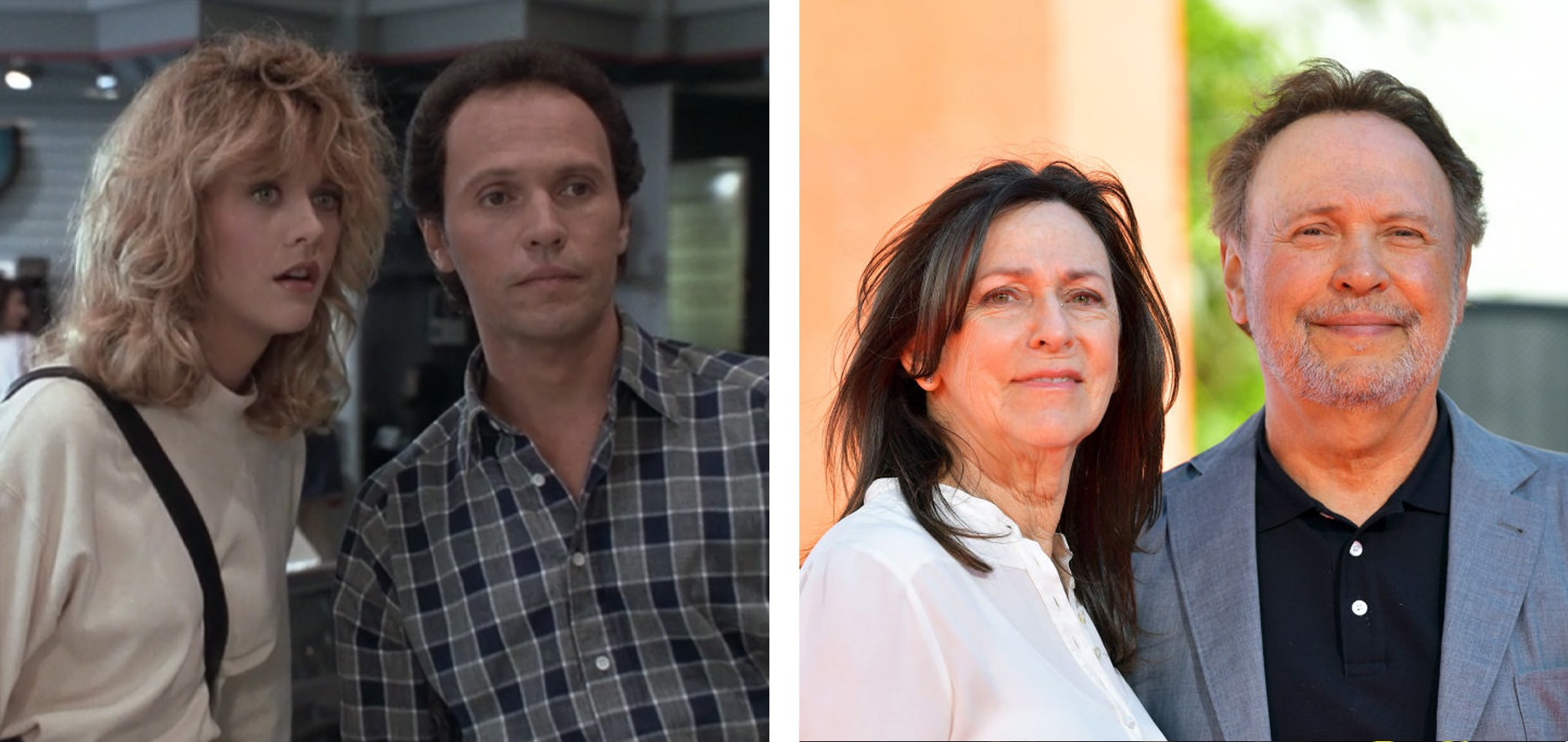 On the left, Billy is in character with his costar at an electronics shop. On the right, Crystal is with his wife at a film festival