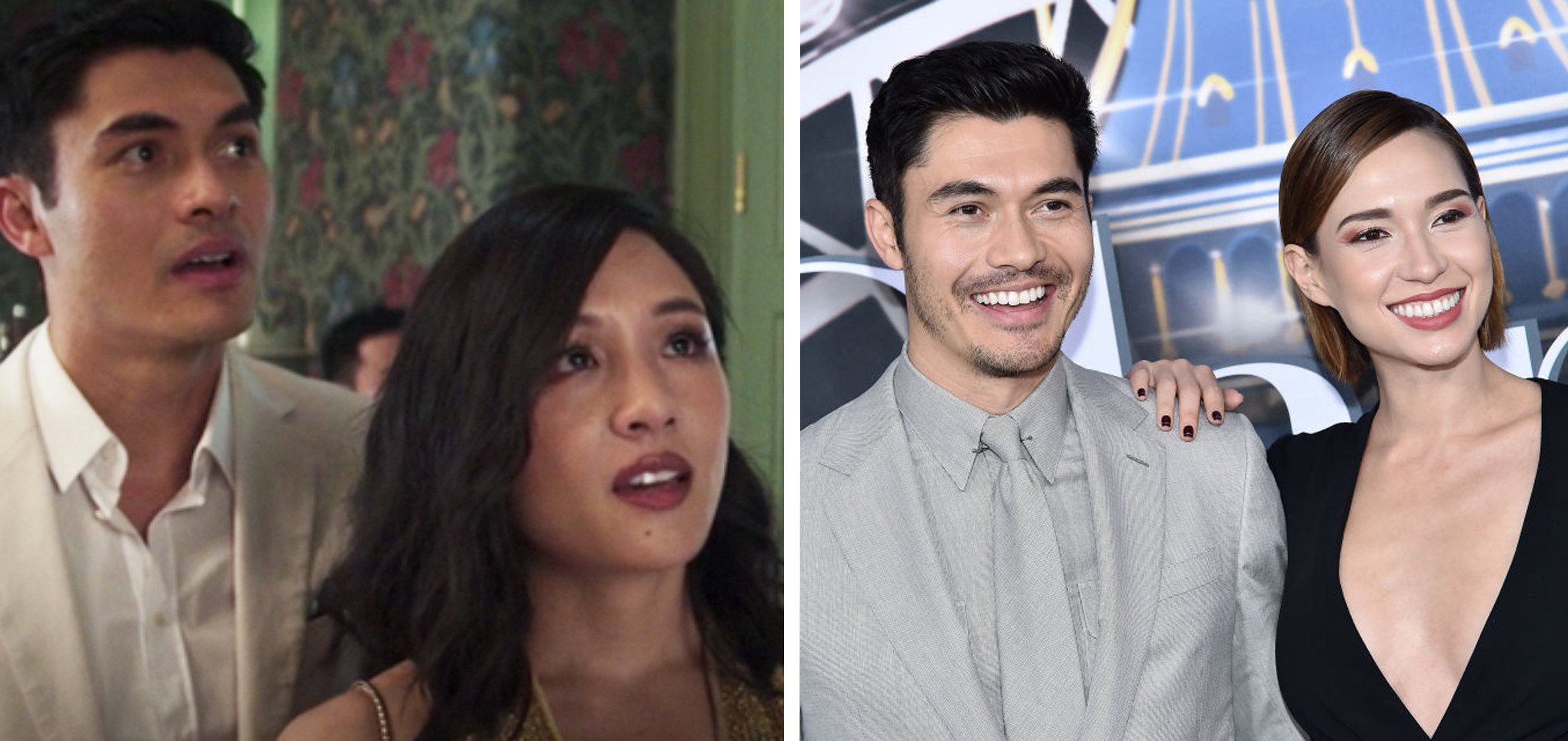 On the left, Golding is in character with co-star Constance Wu at the mansion. On the right, he is with his wife at a premiere.