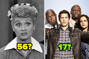 """Lucille Ball in """"I Love Lucy;"""" a promo shot of the cast of """"Brooklyn Nine-Nine"""""""