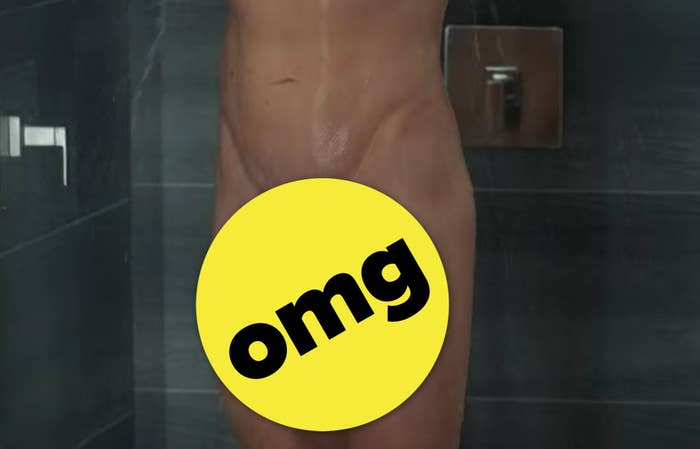 """Brad's lower body covered with an """"omg"""" sticker"""