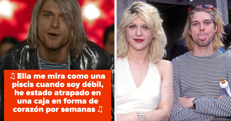 """Kurt Cobain en el video de Nirvana de """"Heart-Shaped Box""""; Courtney Love y Kurt Cobain en los MTV Awards en el inicio de los '90s"""