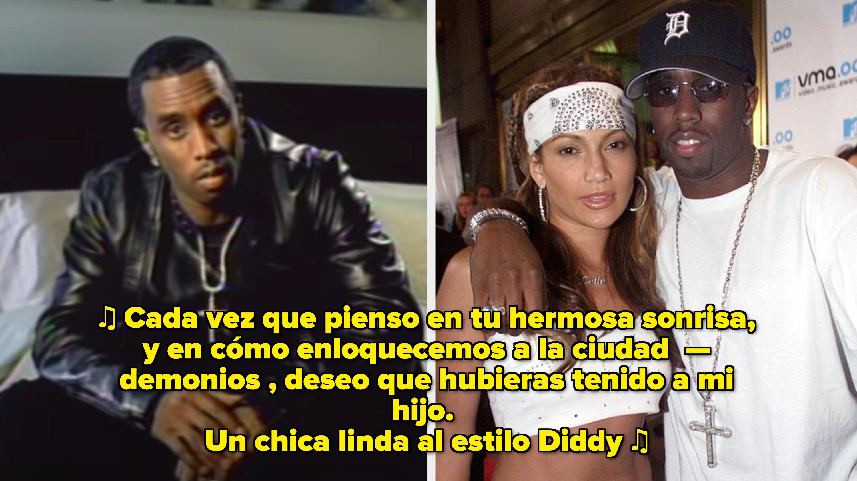 """Diddy en su video musical de """"I Need a Girl (Part One)"""" music video; Jennifer Lopez y Diddy en los MTV Awards del 2000"""