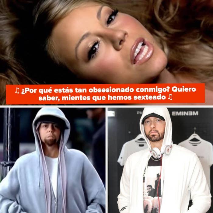 """Mariah Carey cantando: """"¿Por qué estás tan obsesionado conmigo? Quiero saber, mientes que hemos sexteado """" Carey vestida de Eminem en el video de """"Obsessed""""; Eminem con una hoodie en un evento"""