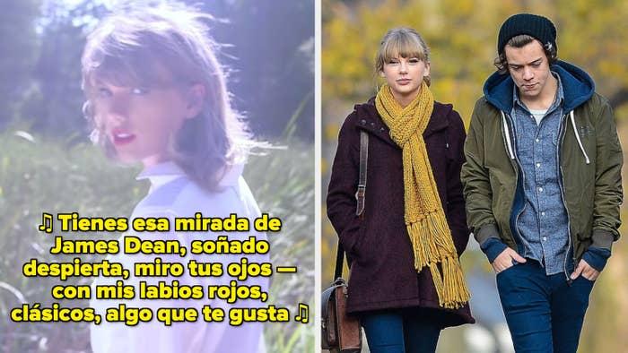 """Taylor Swift en su video musical de """"Style"""" ; Swift y Harry Styles caminando de la mano en New York en los tempranos 2010s"""
