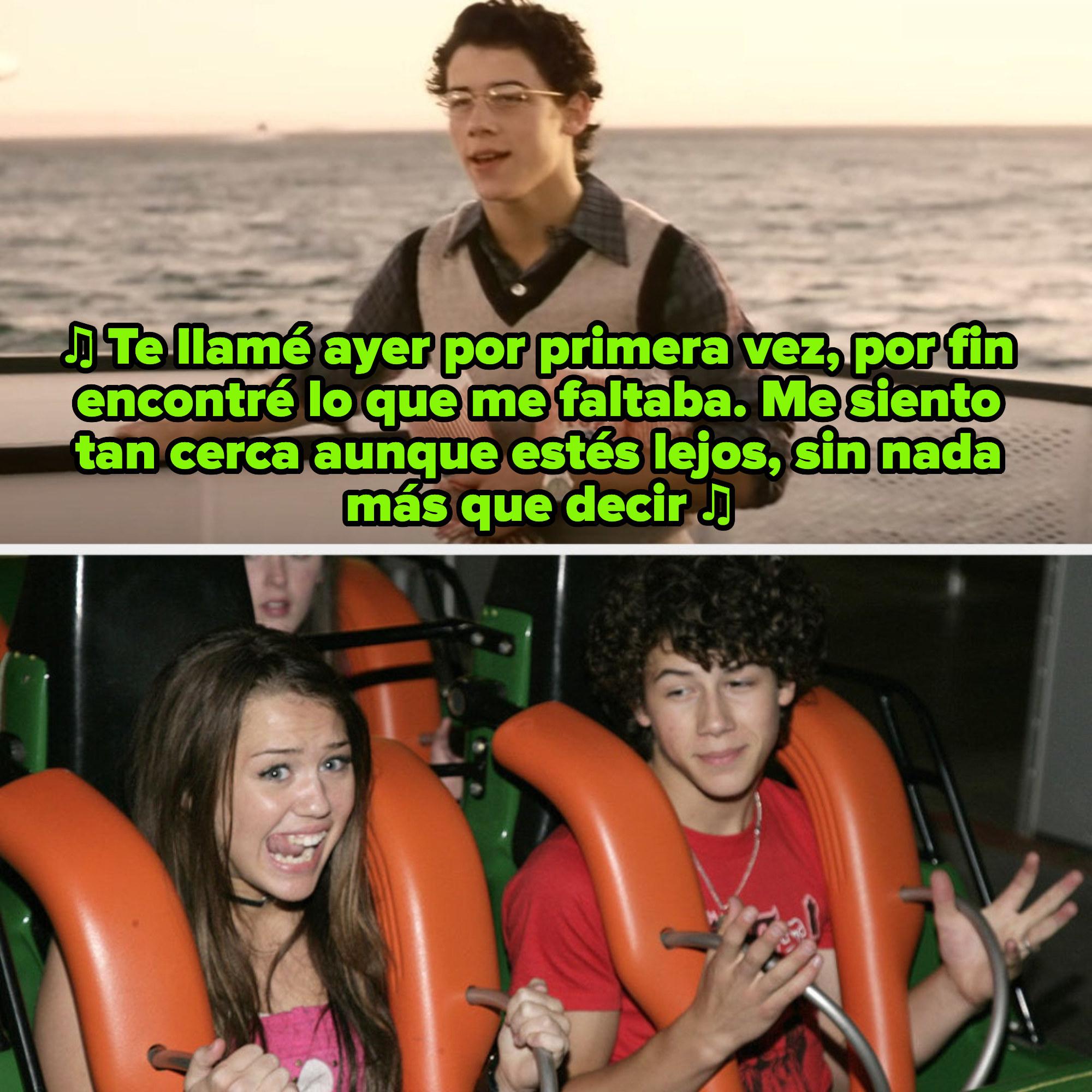 """Nick Jonas en el video musical de """"Lovebug"""" de los Jonas Brothers ; Miley Cyrus y Nick Jonas en una montaña rusa de Six Flags a mediados de los 2000s"""