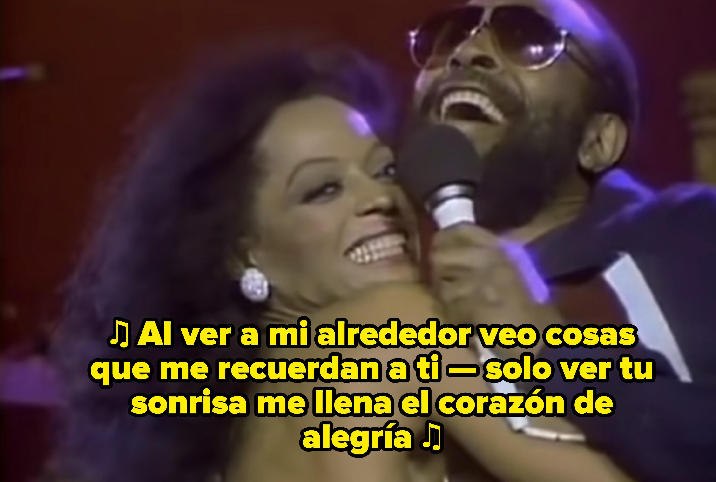 Diana Ross y Marvin Gaye cantando junto a inicios de los 80's