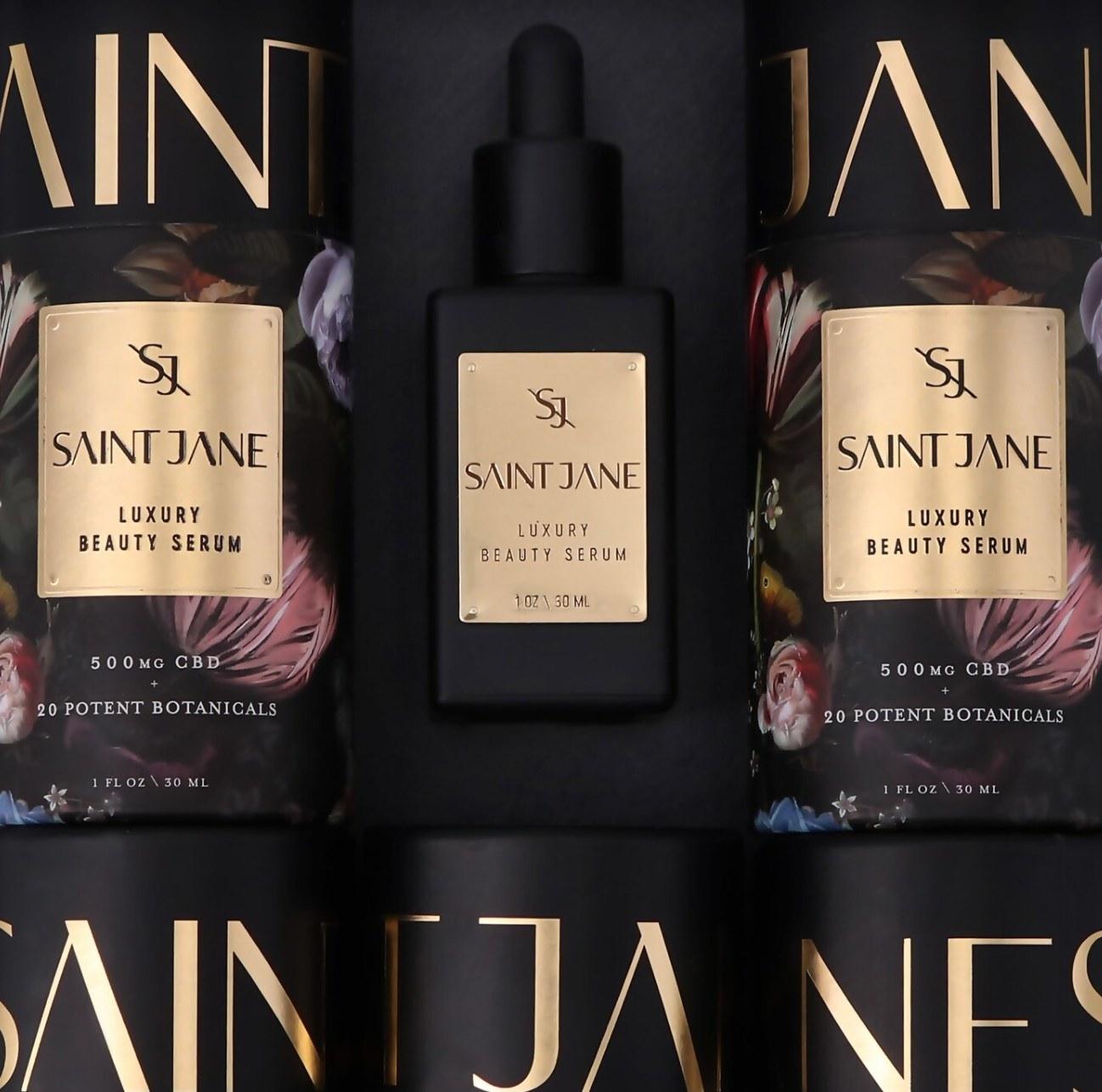 Bottle of Saint Jane serum and packaging