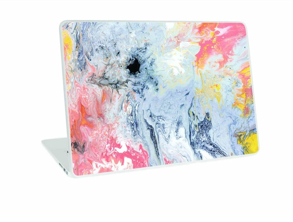 A MacBook Air laptop with a vinyl multicoloured skin stuck over the top of the device