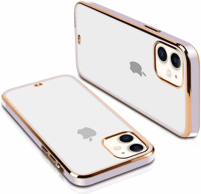 A transparent iPhone 11 cover with gold and lavender lining