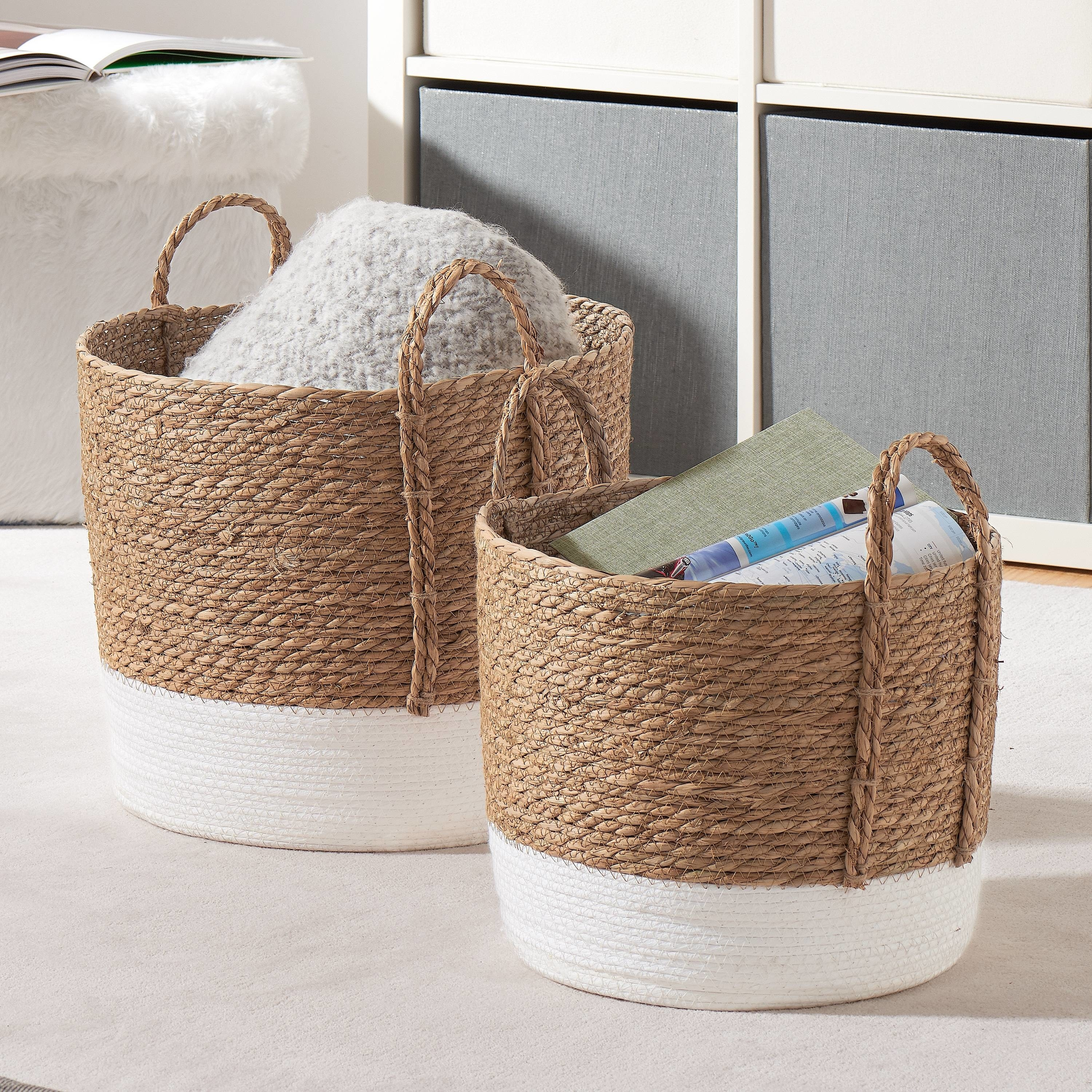 storage baskets with blankets and books