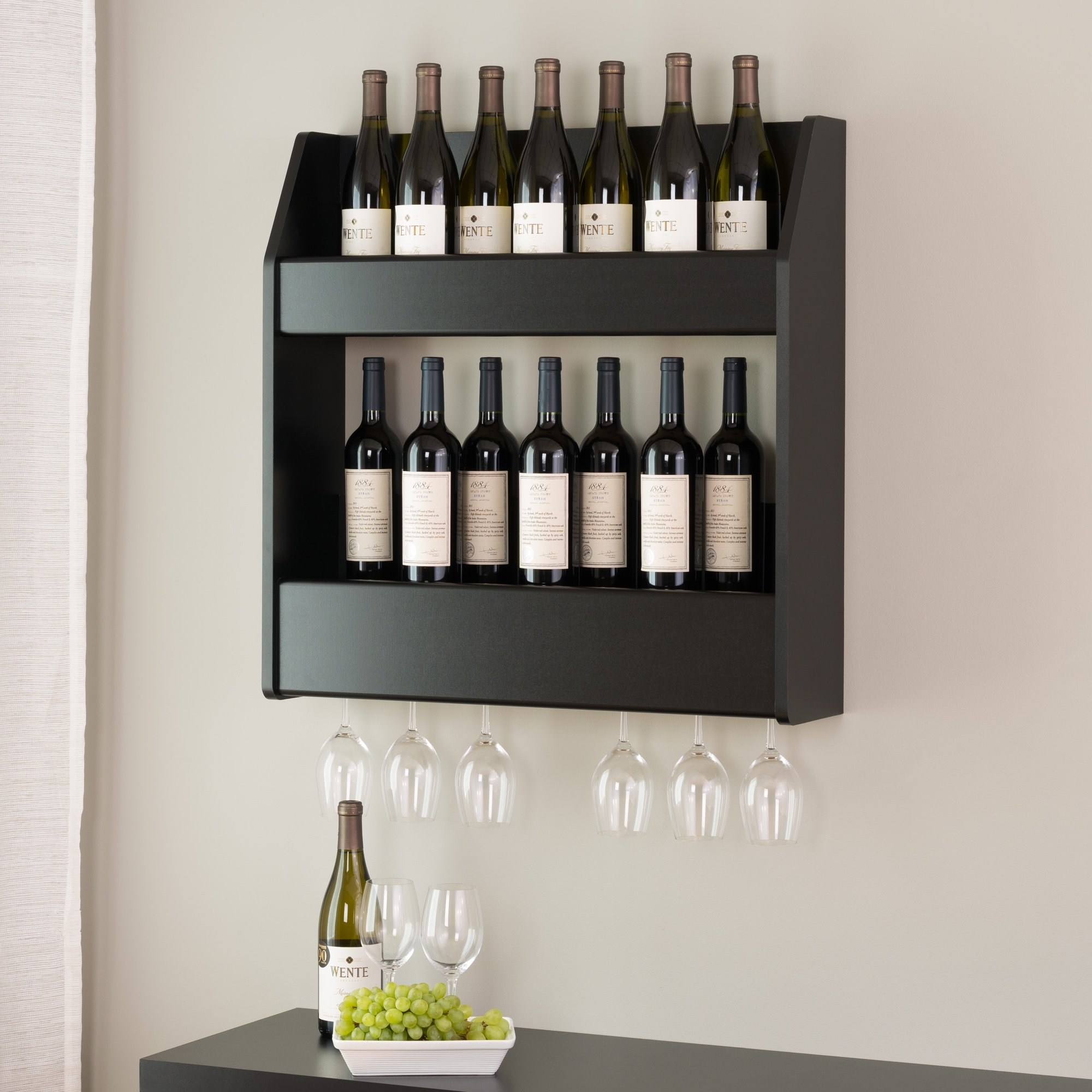 the wine rack on the wall