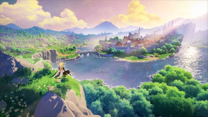 genshin impact character sits atop a rocky mountaintoop, looking at the town/city which is surrounded by water