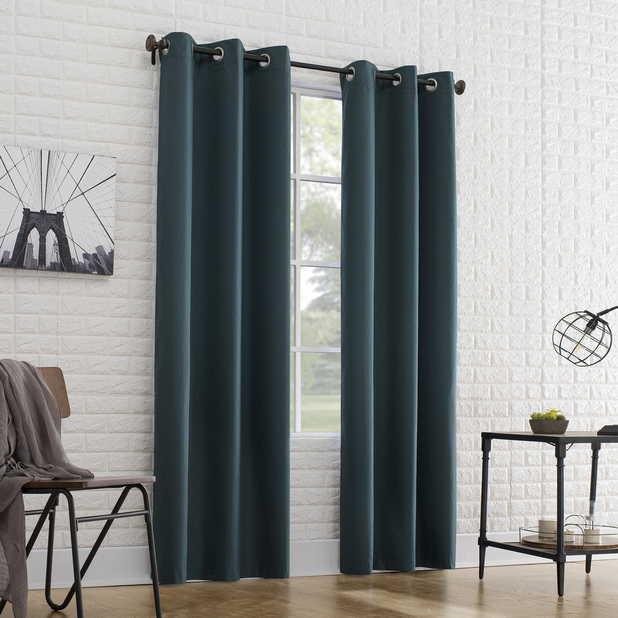 floor-length emerald curtains