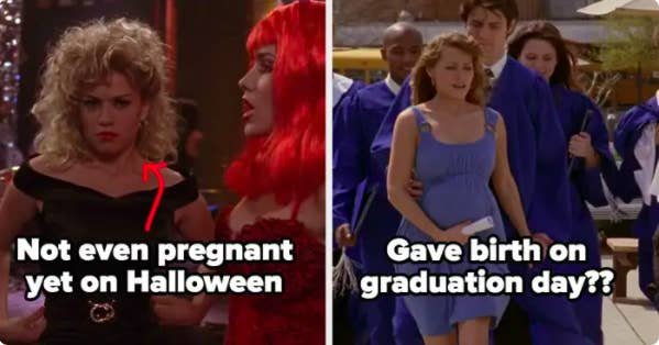 Haley's not even pregnant yet on Halloween, gives birth on graduation day
