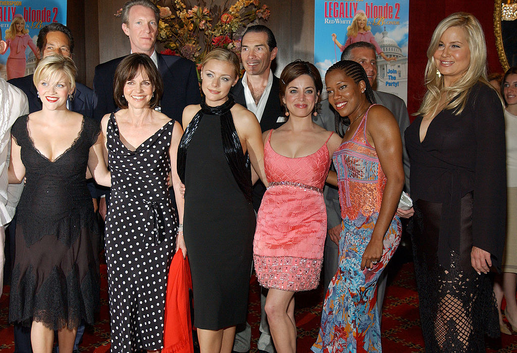 Front row: Reese Witherspoon, Sally Field, Jessica Cauffiel, Alanna Ubach, Regina King, and Jennifer Coolidge
