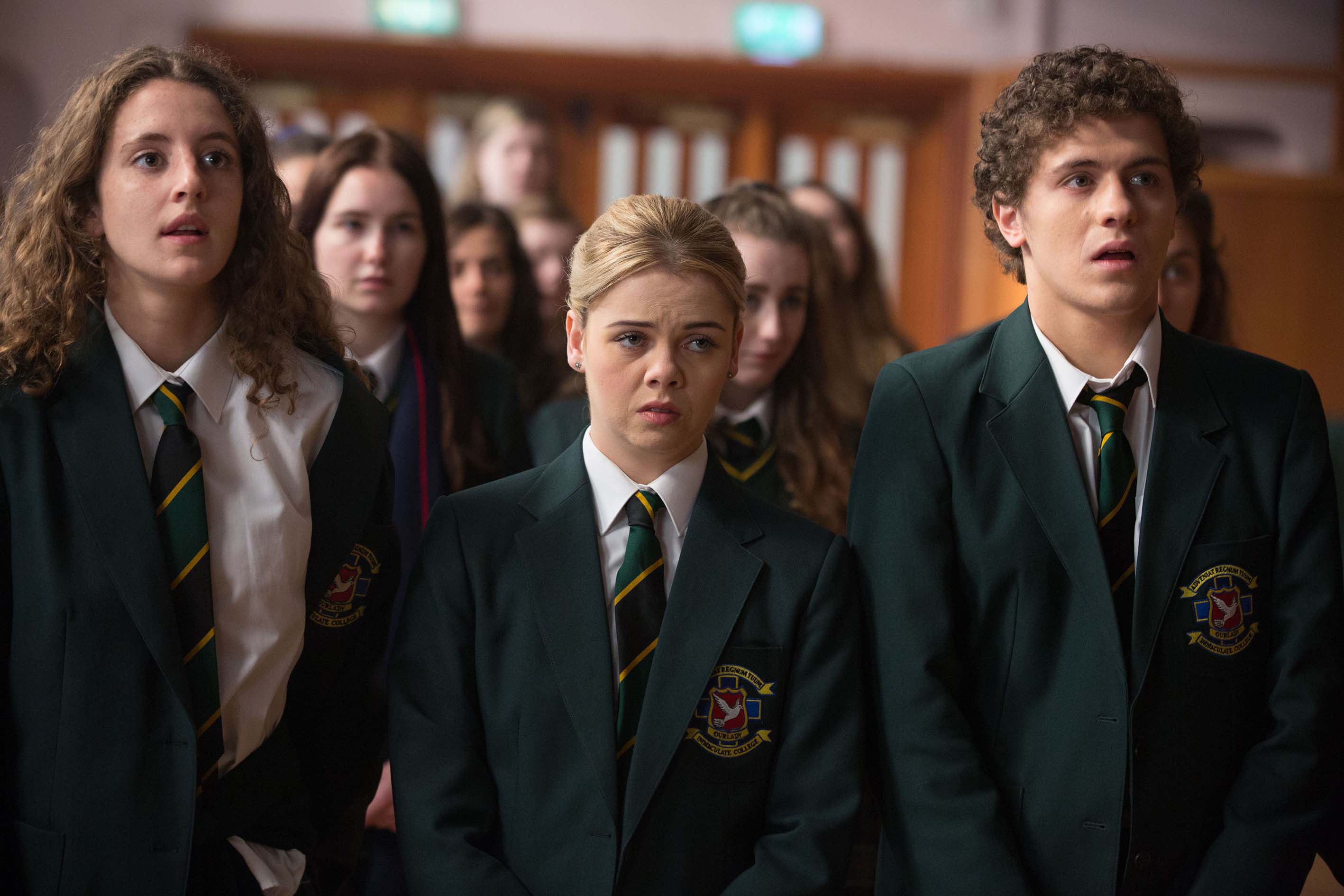 """Louisa Harland, Saoirse Jackson, and Dylan Llewellyn in """"Derry Girls"""""""
