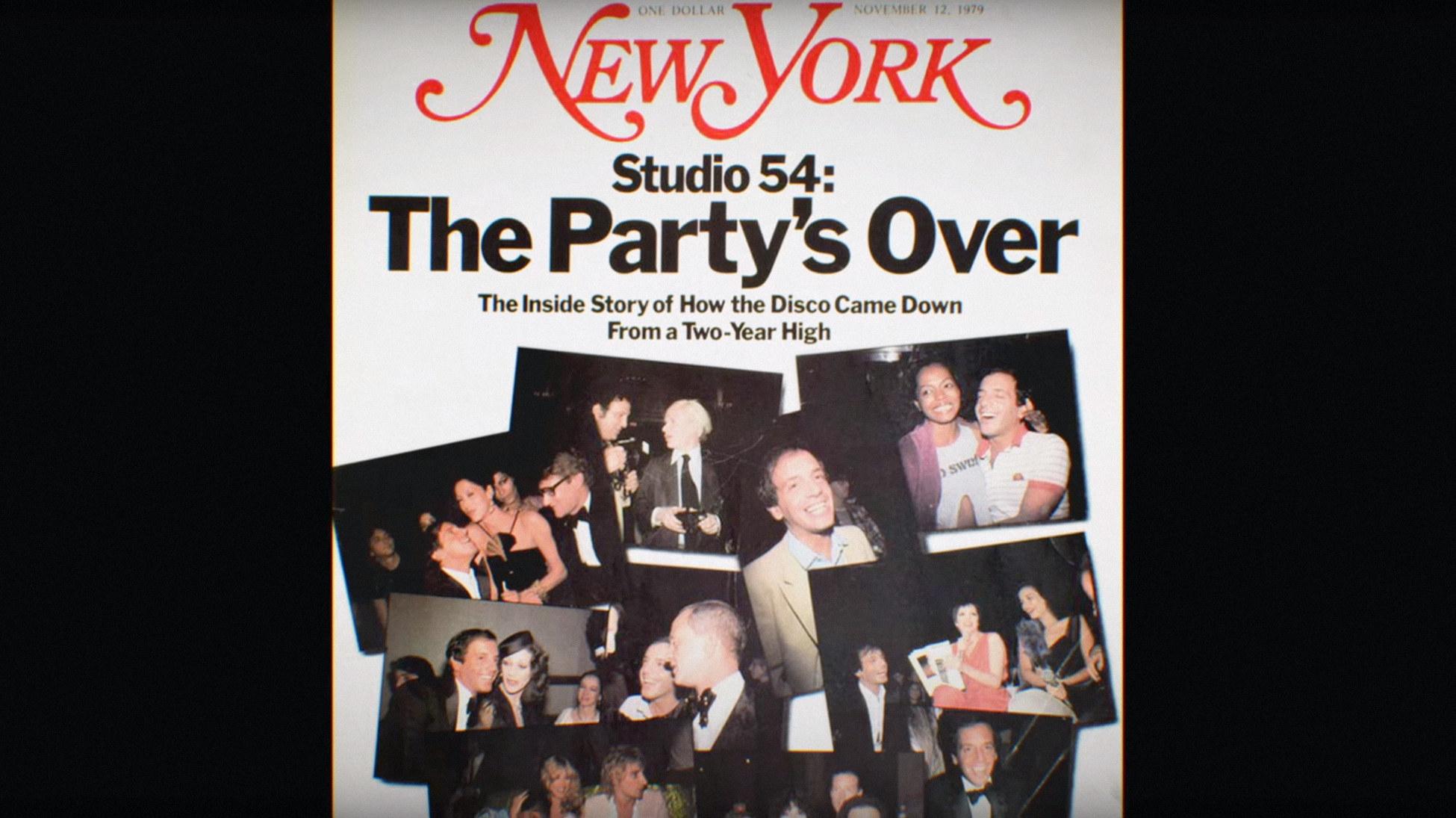 """New York Magazine cover of Studio 54's closing from """"Studio 54"""""""