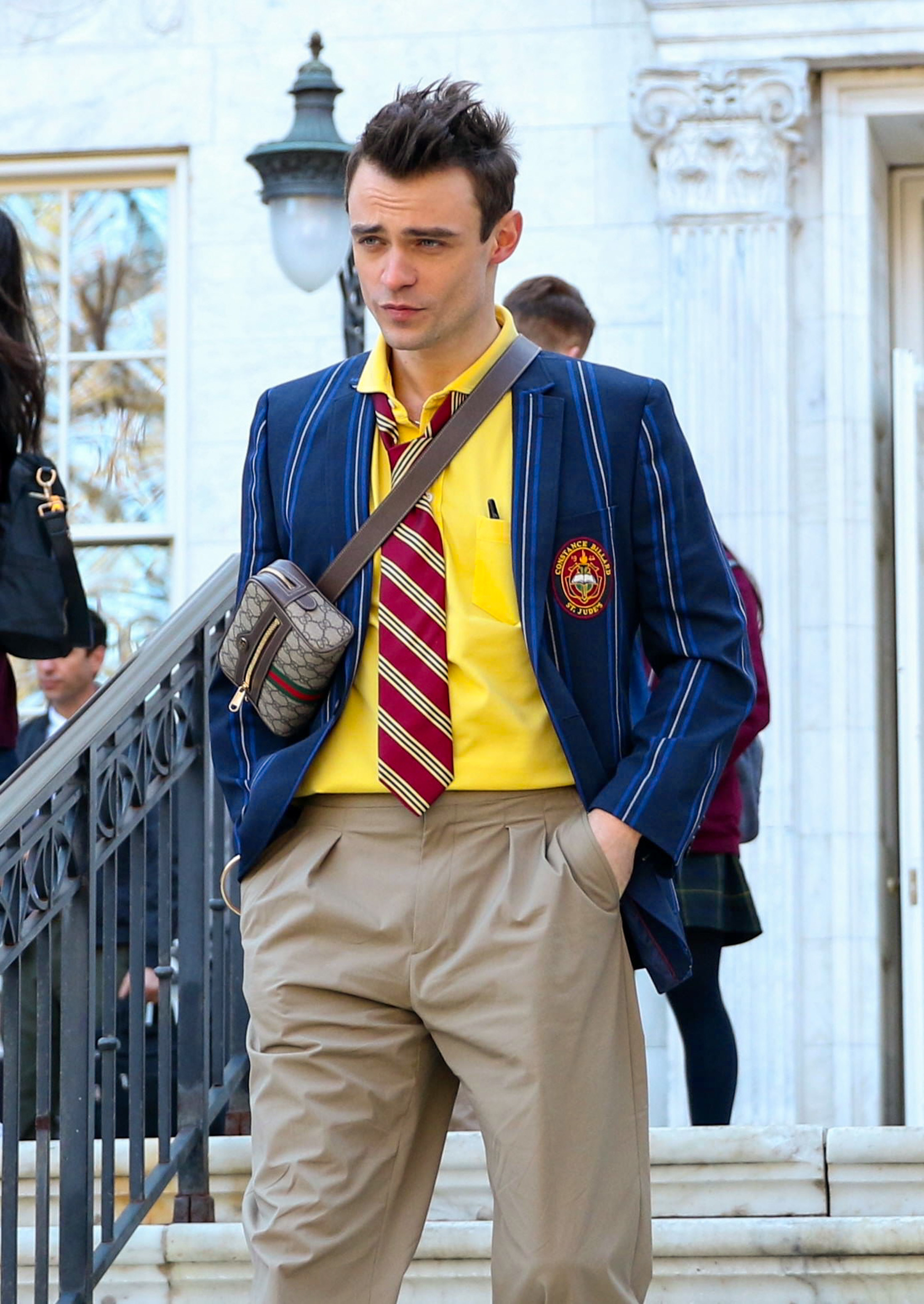 Thomas Doherty is seen at the film set of the 'Gossip Girl' TV Series on April 05, 2021 in New York City