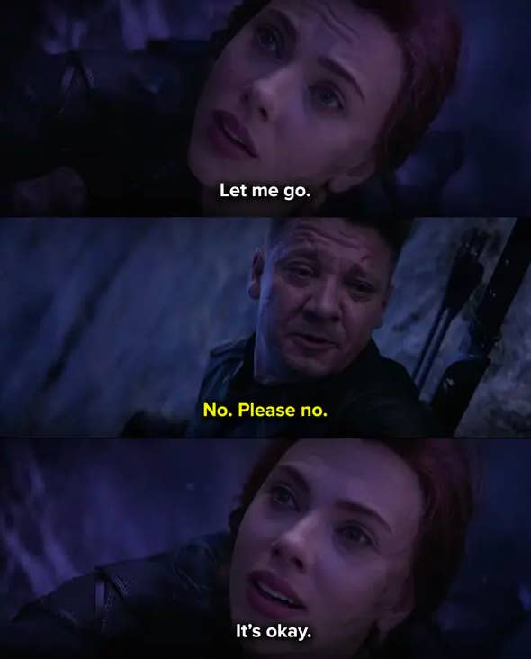 Clint begging her not to jump