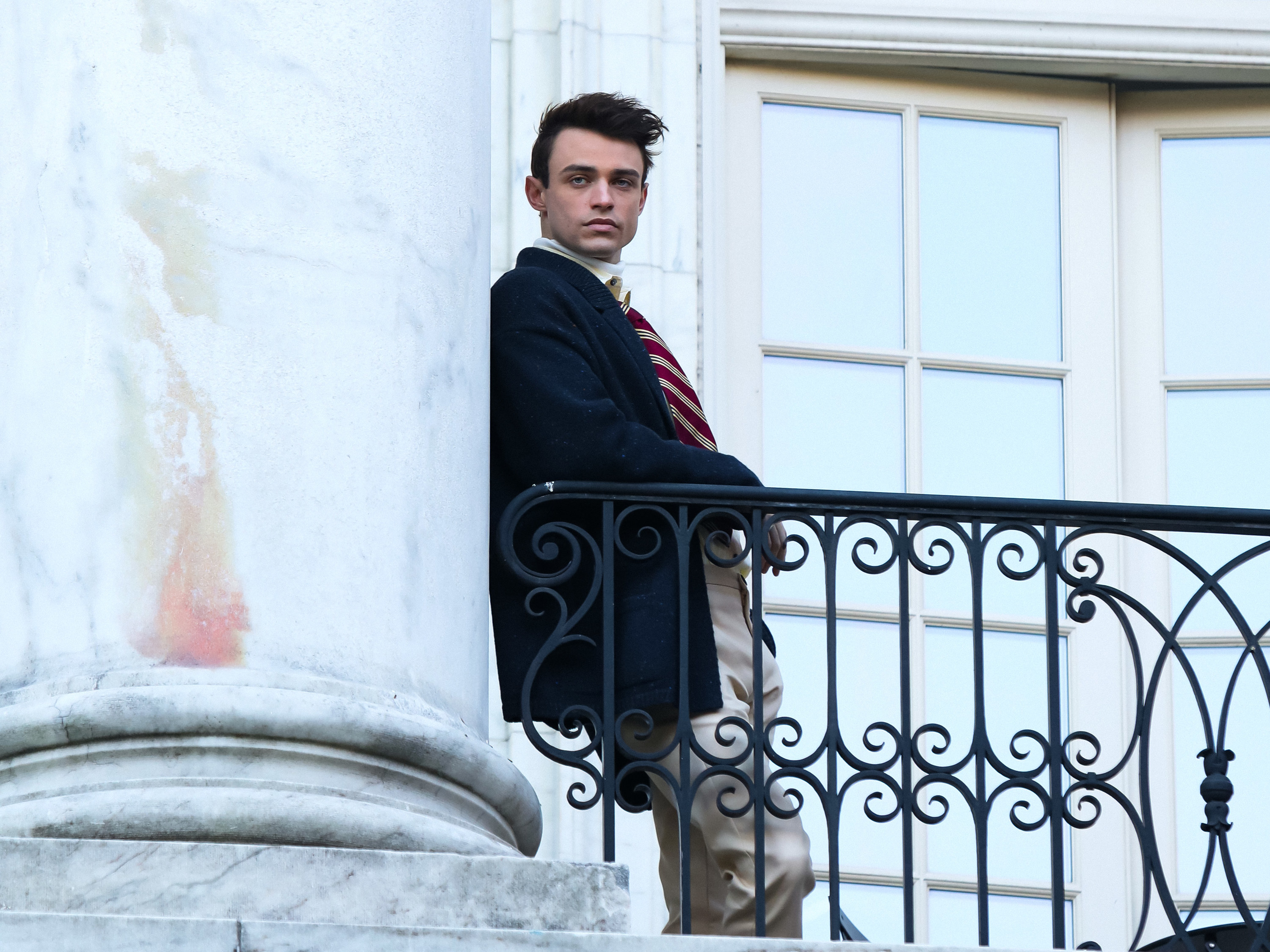 Thomas Doherty is seen at the film set of the 'Gossip Girl' TV Series on November 24, 2020 in New York City