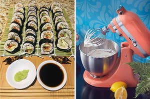 perfectly rolled sushi and a kitchenaid mixer