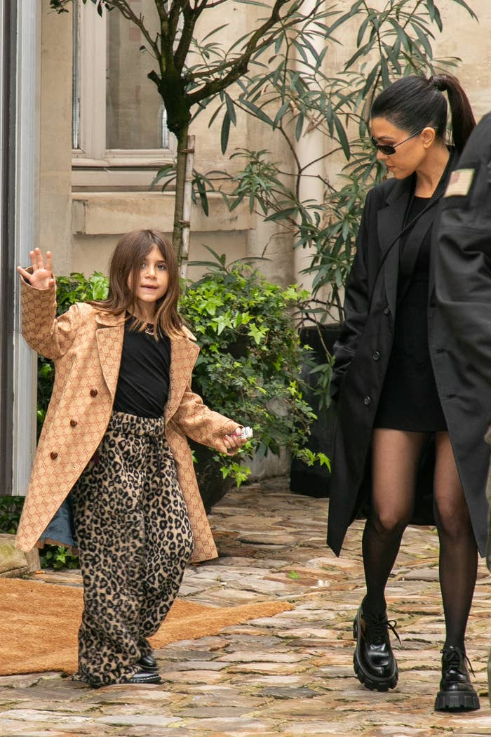 Penelope Disick and her mother Kourtney Kardashian are seen on March 02, 2020 in Paris, France