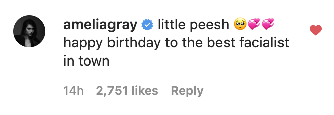 This is a screenshot of Amelia Gray Hamlin's birthday comment, taken from Instagram
