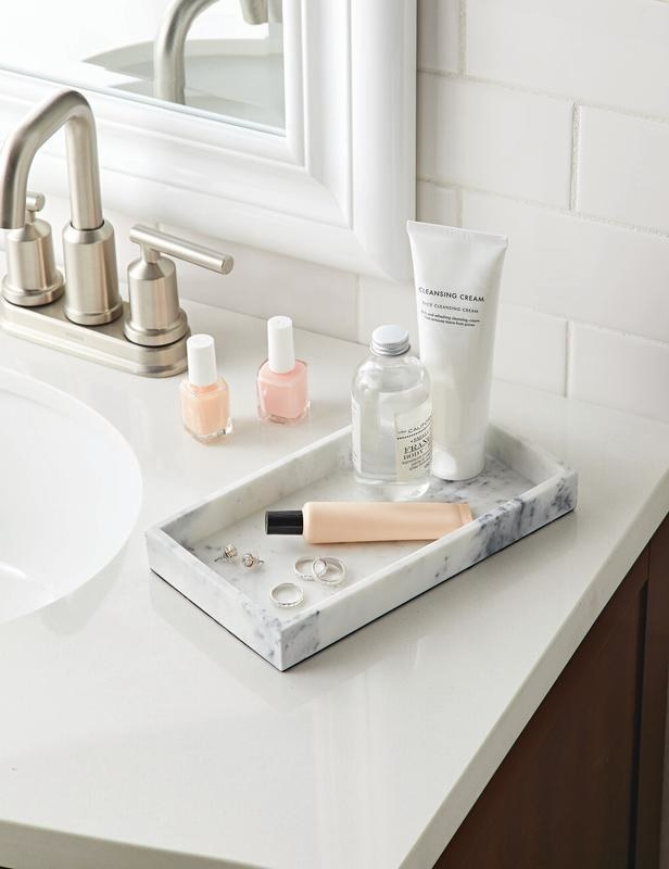 A faux marble vanity tray