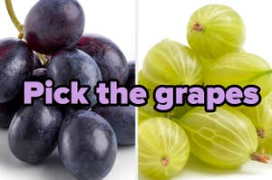 A bunch of grapes, a pile of gooseberries