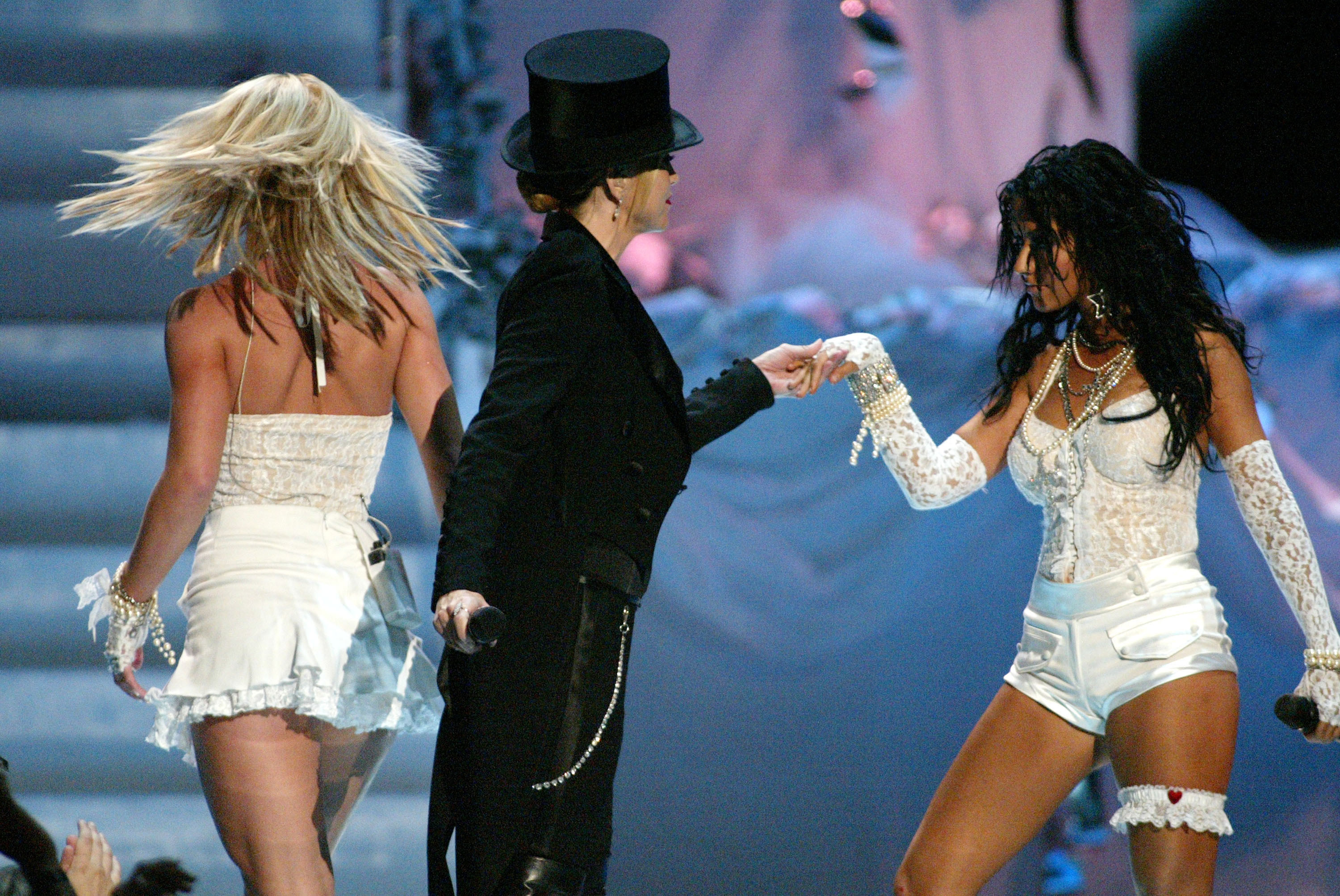 Britney Spears, Madonna, and Christina Aguilera at the 2003 MTV Video Music Awards