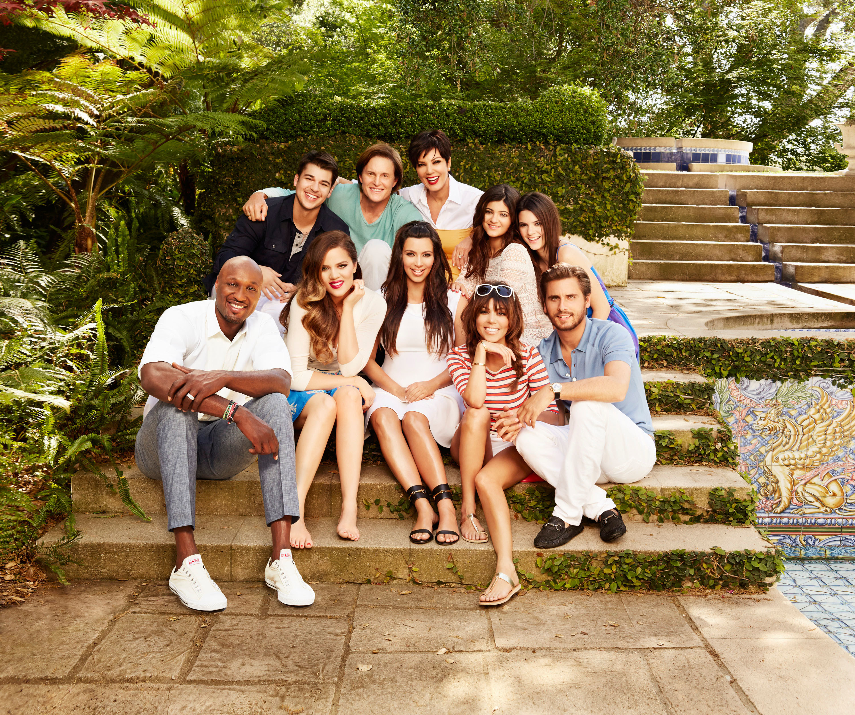 A shot from Season 8 of the show with the Kardashians, Jenners, and others sitting on stairs
