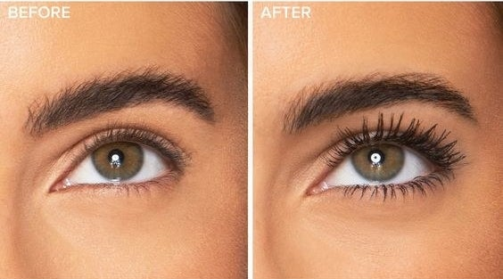 before-and-after of model's eyelashes with and without volumizing mascara