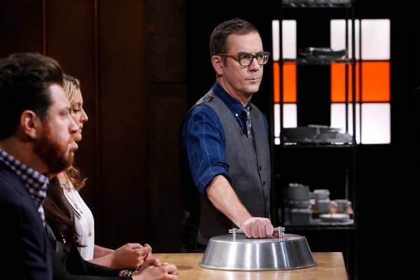 Ted Allen unveiling the losing dish