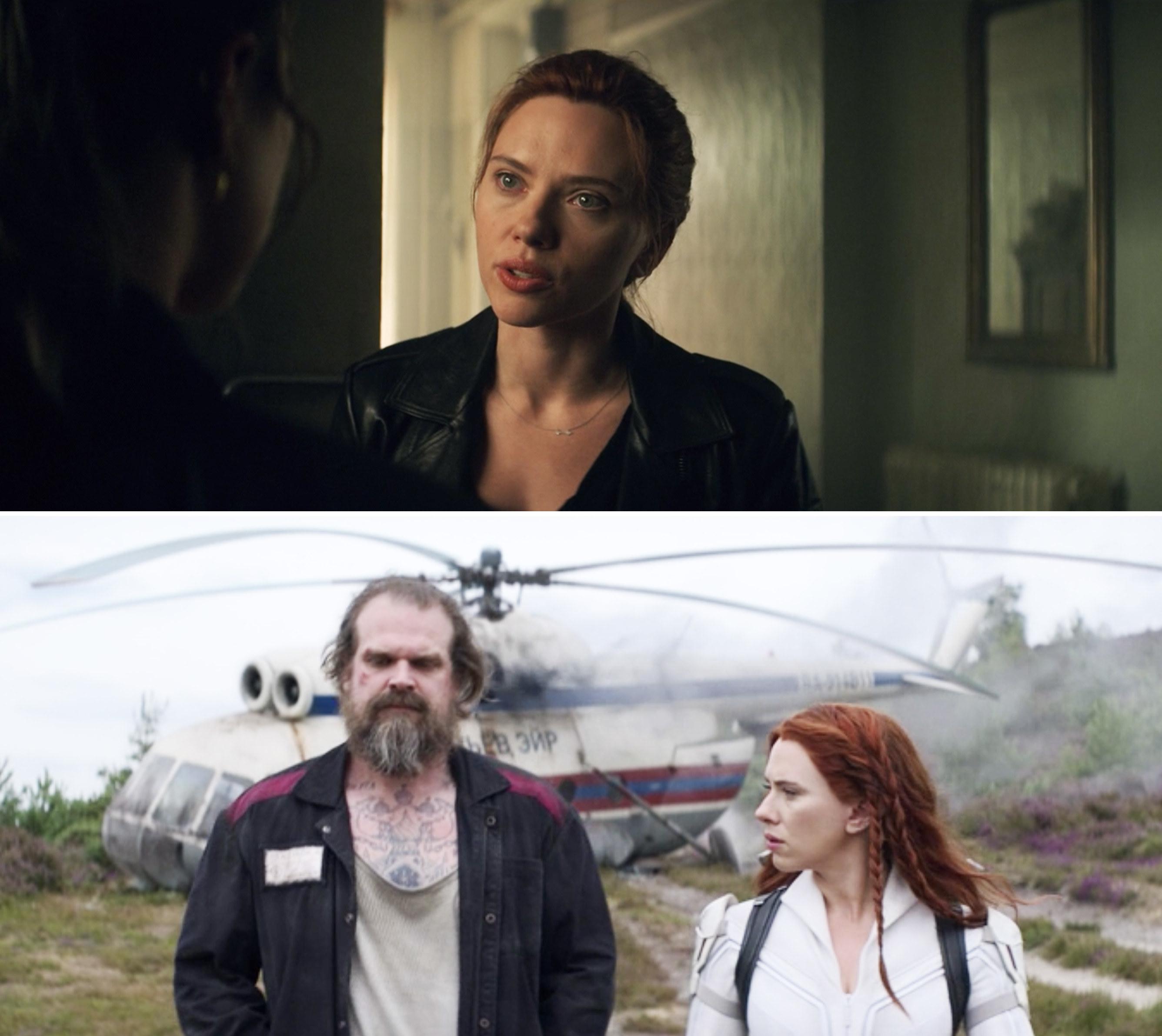 Natasha walking with Alexei after their helicopter crashes
