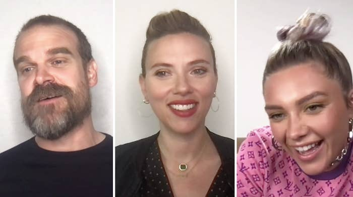 David Harbour, Scarlett Johansson, and Florence Pugh smiling and laughing