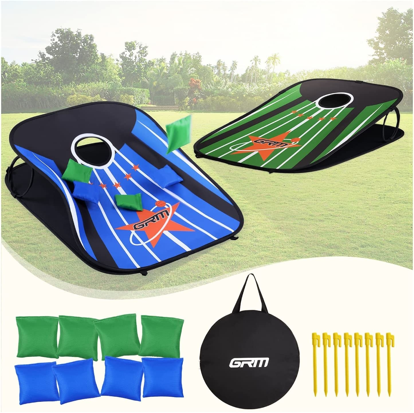 the collapsible cornhole game set