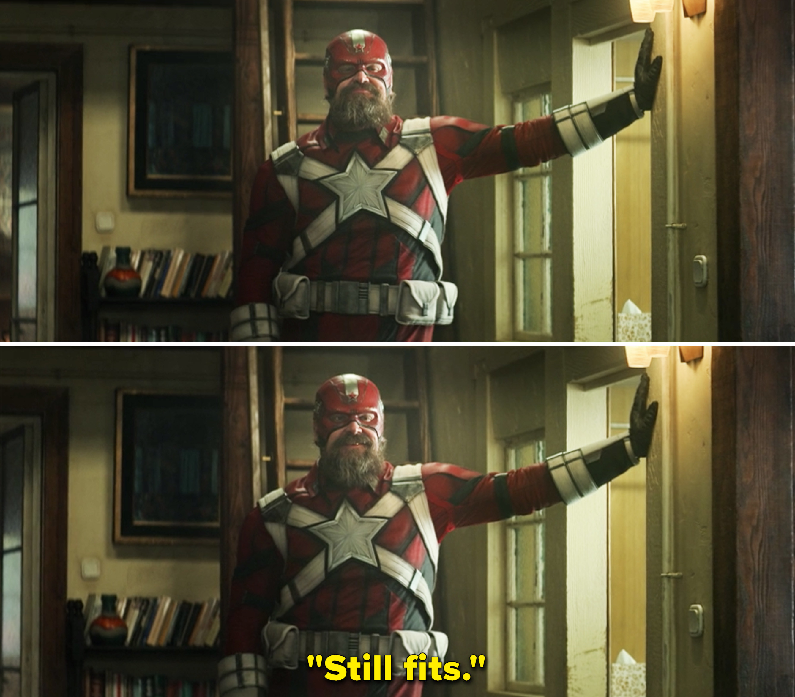 """Alexei posing in a door way in his Red Guardian suit and saying, """"Still fits"""""""