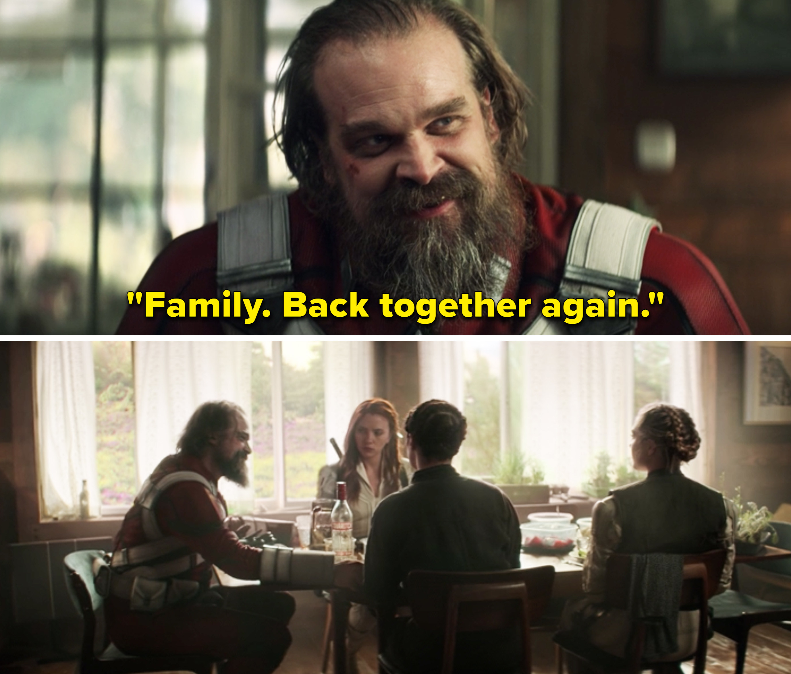"""Alexei saying, """"Family. Back together again"""""""