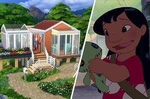 a tiny sims house on the left and lilo from lilo and stitch on the right