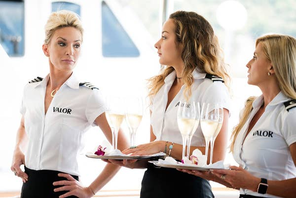 """Three Below Deck participants on the yacht """"Valor"""""""
