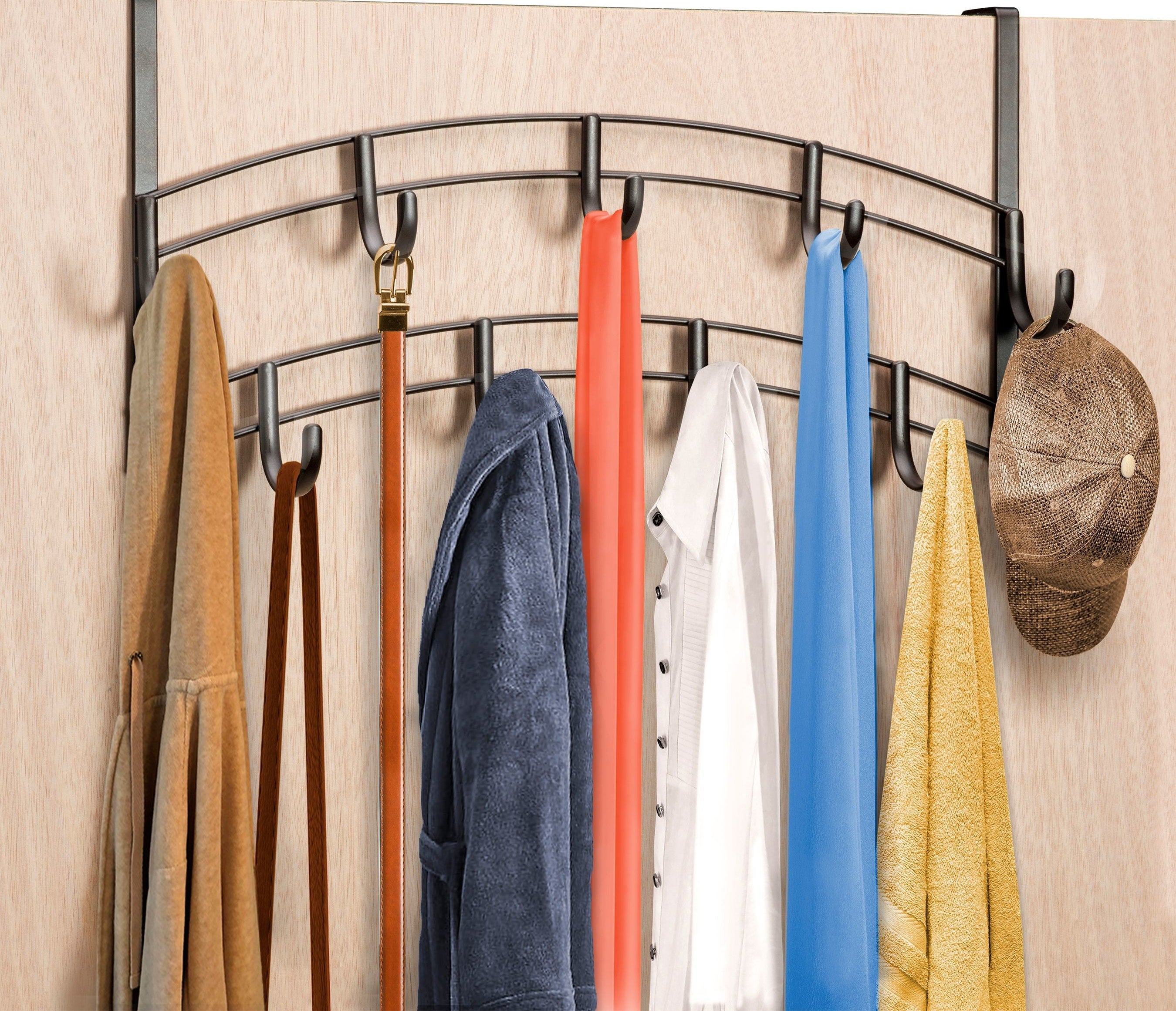 over the door hooks with clothing items