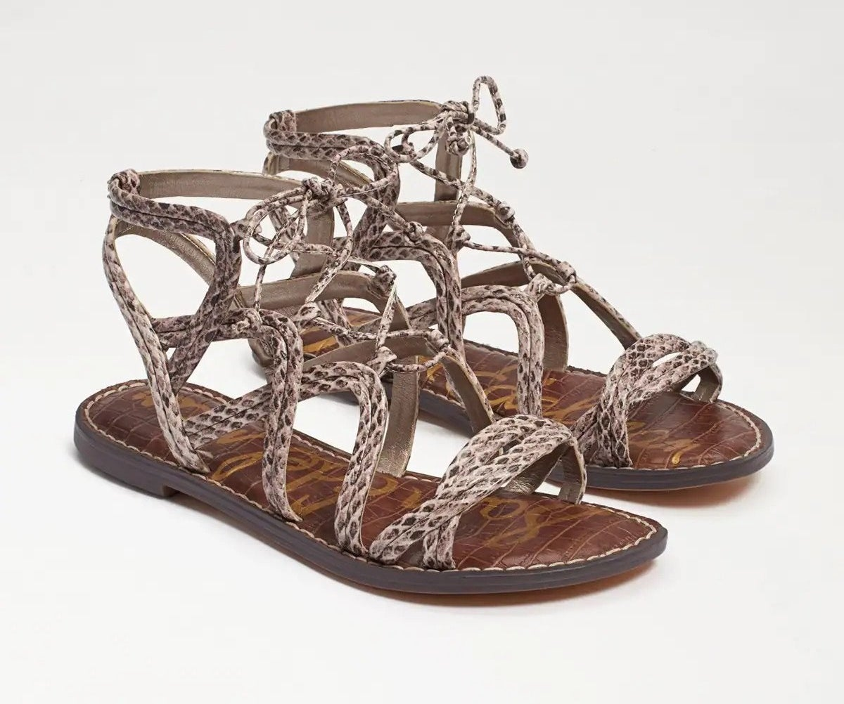 brown strappy gladiator-style sandals
