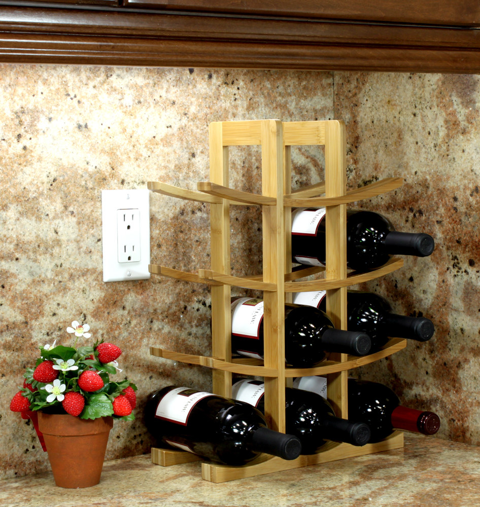 wine rack stacked with bottles of wine